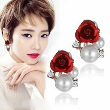 1 Pair Fashion Women Lady Elegant Flower Rhinestone Ear Stud Earrings Hot Sale