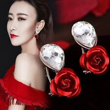 1 Pair Fashion Women Lady Elegant Crystal Rhinestone Flower Ear Stud Earrings