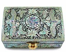 Jewelry trinket box wood Mother of pearl inlay mirror Silver Cranes Hand Made