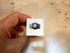 VINTAGE 1970's 9 CT YELLOW GOLD  SAPPHIRE AND DIAMOND CLUSTER RING SIZE H
