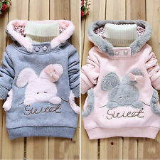 Girl Rabbit Hoodies Pullover Jacket Winter Warm Sweater Coat Kids Sweatshirt Top