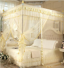Light Yellow 4 Corner Post Bed Canopy Mosquito Net Netting Or Frame Post Bedding