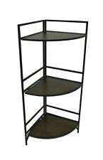 3-Tier Black and Bronze Finish Metal Corner Shelf Rack 35 in.