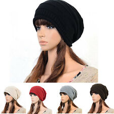 Hot Unisex Winter Plicate Baggy Beanie Knit Crochet Ski Hat oversized slouch Cap