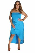 121AVENUE Ruched Sleeveless Maxi Dress 1X Women Plus Size Blue Summer/Beach USA