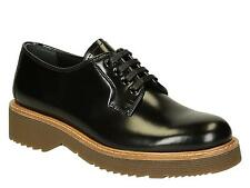 Prada womens flat lace-up oxford shoes in black shiny calf leather made in Italy