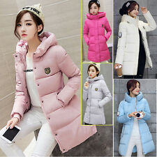 Womens Ladies Medium Long Winter Hooded Thick Warm Down Coat Quilted Jacket