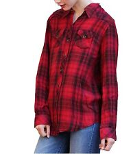 Angie Womens Button Up Washed Plaid Flannel Shirt Red/Black
