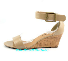 Taupe Patent Cutie Ankle Strap Trend  Low Mid Wedge Single Band Sandals Shoes