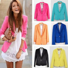 Fashion Womens Candy Color Coat Basic Slim Foldable Suit Jacket Blazer 5 Colors