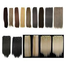 """8 Pcs 18"""" Straight Full Head Clip In On Synthetic Fiber Hair Extensions"""