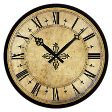 Round Vintage Shabby Colosseum Room Decor Wall Clock Wooden 15In Large Xmas Gift