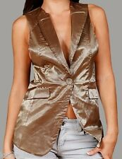 Gold Shimmer Button Front Lined Sleeveless/Vest S/M/L