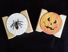HALLOWEEN Stoneware COASTER Sets JACK O LANTERN Pumpkin or SPOOKY SPIDER w/Caddy