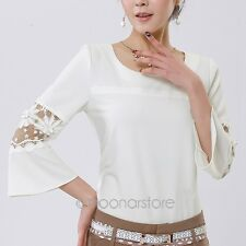 1PC Soft Women's Lace Chiffon T Shirt Casual Round Neck Flare Sleeve Top Blouse