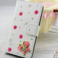 Bling Luxury pink butterfly flower Diamonds Crystal PU Leather flip Cover Case G