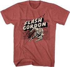 Flash Gordon Map Rocket Red Heather Men's Lightweight T-Shirt S,M,L,XL,2X