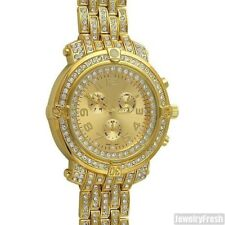 Gold Iced Out Custom Big Face Mens Pilot Watch Canary Yellow