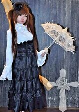 Visual Kei Gothic Satin Steampunk Lolita Corset Long Top Waist Ruffled Skirt
