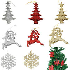 10 Glitter Christmas Reindeer Snowflake Ornaments Xmas Tree Hanging Decoration