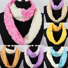 2Tone Stitching Furry 3D Rose Plush Infinity Scarf Loop Cowl Neckerchief Snood