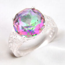 New Arrival Round-shaped Rainbow Colored Topaz Silver Ring Jewelry Size 7,8,9
