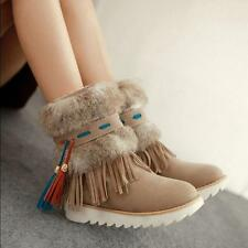 Womens Platform Tassels Fringe Faux Suede Booties Winter Snow Shoes Ankle Boots