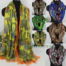 Vintage Bird Multicolor Feathers Tassel Long Scarf/Infinity Loop Cowl Scarf