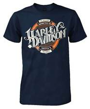 Harley-Davidson Men's Beer Label H-D Script Short Sleeve T-Shirt, Navy Blue