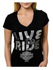 Harley-Davidson Women's Embellished Live To Ride V-Neck Short Sleeve Tee, Black