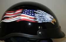 Eagle Flag DOT Motorcycle Helmet with Storage Bag Size: Medium fnt