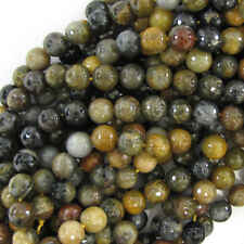 "Faceted Grey Brown Agate Round Beads Gemstone 15"" Strand 4mm 6mm 8mm 10mm 12mm"