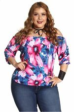 DEALZONE Trendy Sexy Off Shoulder Top 1X Women Plus Size Pink Casual USA
