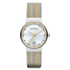 NEW SKAGEN WATCH for Women * Silver/Gold/White * Striped Mesh Bracelet * 355SSGS