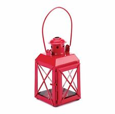 BULK LOTS Red Iron Railroad Style Tealight Candle Lanterns Clear Glass Panels