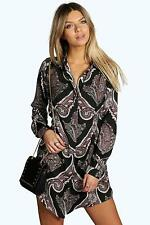 Boohoo Womens Lola Paisley Shirt Dress