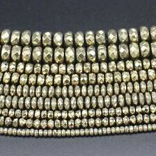 Plated Hematite Faceted Pyrite color Rondelle Loose Beads 15""