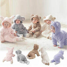 Newborn Baby Romper Hooded Jumpsuit Boy Girl Bear Grow Bodysuit Outfit One-piece