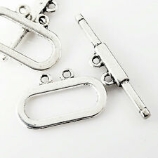 20-80pcs Retro Tibetan Silver Bar & Ring Toggle Clasps Hooks Jewelry Findings