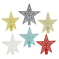 17cm Glitter Star Christmas Tree Topper Decoration - 5 Colours