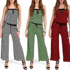 Ladies Jumpsuit One Piece Bandeau Overall Catsuit mit Spaghetti straps Neu
