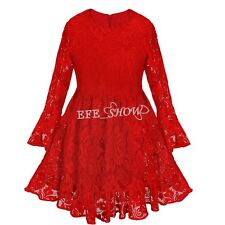 Red Girls Kids Long Sleeve Lace Floral Dress Princess Party Wedding Dress 2-8Y