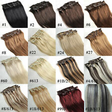 Clip in Full Head 100% Remy Human Hair Extensions Straight 7pcs/set