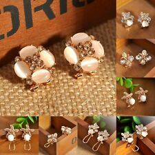 1 Pair New Fashion Women Lady Elegant Pearl Opal Rhinestone Ear Stud Earrings