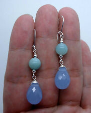 Faceted Sky Blue Chalcedony W. Green Amazonite Sterling Silver Earrings A1112
