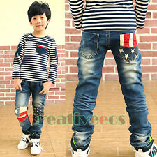 Fashion Kids Boys Jeans Striped Stars Stitching Denim Trousers Toddlers Pants