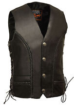Mens Leather Braided Side Lace Vest with Buffalo Snaps