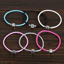 Fashion 13Colors Leather Bracelet Chain Bangle Fit European Charms Beads Buckle