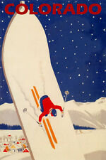COLORADO SKIING SNOWBOARD SKI JUMPING WINTER SPORT TRAVEL VINTAGE POSTER REPRO