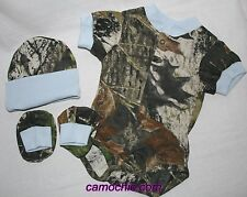 MOSSY OAK CAMO CAMOUFLAGE & BLUE 3 PC INFANT SNAP UP DIAPER SHIRT BABY GIFT SET